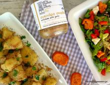 Potato salad with artichoke garlic spread