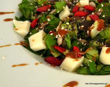 Πράσινη σαλάτα με υπερτροφές, vegan μοτσαρέλλα και σως πετιμεζιού – Green salad with vegan mozzarella and grape syrup sauce