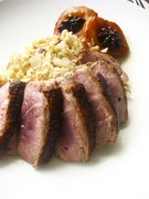Pan fried duck breast with creamed cabbage  chestnuts and caramelized pear  στήθος πάπιας με καραμελωμένο αχλάδι και σγουρό λάχανο με κάστανα και μπέικον
