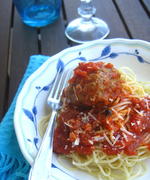 Spaghetti and meatballs  a greek version for cook the books