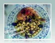 Κοτόπουλο με ρεβίθια  πράσινες ελιές και λεμόνι