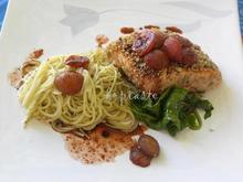 Σολομός με κρούστα ξηρών καρπών και μπαχαρικών