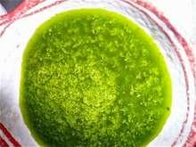 Πράσινη σάλτσα  το γκαζόν στο πιάτο