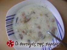 Κρεμώδης μανιταρόσουπα με ρύζι