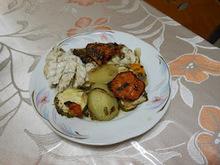 Ψάρι (στίρα)  στο  φούρνο  με  λαχανικά