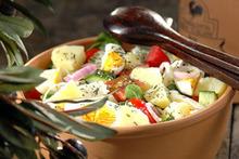 Πατατοσαλάτα με γλιστρίδα, ντομάτα καιφέτα