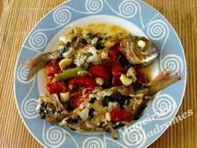 Ψάρι με ντοματίνια, μυρωδικά  και balsamico