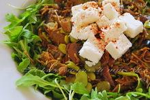 Χλιαρη σαλατα με μελιτζανες, μανιταρια και φρεσκα κουκια  *****  insalata tiepida di melanzane, funghi e fave