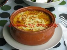 Κολοκύθα -κόκκινες φακές με επικάλυψη μείγματος πατάτας