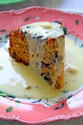 Old fashioned blueberry and cornmeal cake with Crème anglaise - Παλαιομοδίτικο κέικ μύρτιλλο με αλεύρι καλαμποκιού και κρέμ Ανγκλαίζ