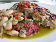 Φασόλια γίγαντες με ψάρι φέτα στο φούρνο