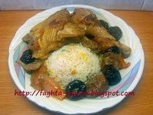 Χωριάτικο κοτόπουλο με κάστανα και δαμάσκηνα