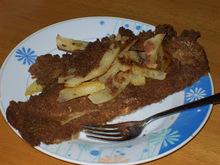 Ψάρι σνίτσελ στο φούρνο με πατάτες