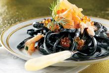 Black tagliatelle with salmon