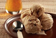Halva ice cream with tahini, almonds and honey